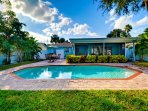 Enjoy the pool and pool deck any time of day