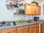 Viking Lodge 315 - the kitchenette has a mini fridge, cooktop, microwave, coffee maker and cookware.
