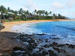 Our favorite cove at Poipu State Beach Park. Great for swimming, snorkeling, sunning on the beach.