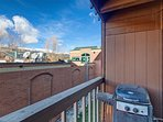 Back porch with gas grill overlooking the Town of Breckenridge