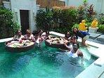 Floating breakfast in the pool