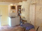 The 2nd gite has a well equipped cuisinette and dining area.