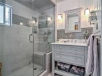 Freshen up for the next day's adventure in this newly remodeled full bathroom.