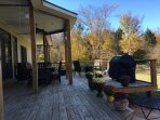 Rear deck with fire pits and oversized grill for groups