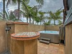 Soak your cares away in the 7-person hot tub.