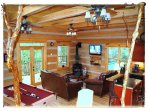 Lounge, soft leather sofas, DirectTV, dvd, fireplace, mountain views, dining table, pool table,