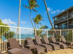 Lounge in poolside, with the sound of the ocean and ocean breezes at your back!