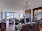 Open plan dining and living room