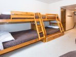 Two twin over full bunk beds and a pull out twin trundle