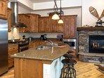 Modern kitchen amongst the fireplace