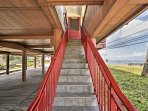 The home is accessible via this staircase.