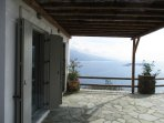 A scenic view of Andros Island and the Aegean sea from the porch of the Villa.