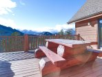 Room for 8 at Awestruck's over-sized picnic table overlooking Rocky Mountain National Park