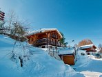 Glorious day at Chalet Lisa, ski-in and ski-out convenience.