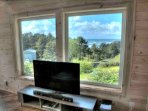 Fabulous HD TV with Blu Ray framed by a fantastic view.