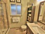 Tile bath, clean and spacious.