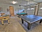 Game room with pool table, ping pong & Foosball.