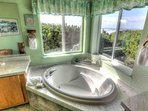 Soaking tub in master bath, privacy and a view.