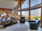 Wrap- around views and comfortable furnishings.