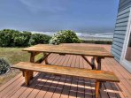 Large deck overlooking the ocean, a great place for coffee or lunch.