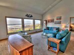 Vaulted ceilings enhance the views.