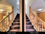 Two railed stairways provide an easy path upstairs.