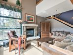 Settle down on one of the couches in the living area next to the gas fireplace.