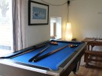 The pool table in the communal barn