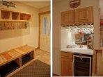 Entry with bench, coat racks, & storage.  Wine Bar with fridge!