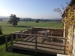 The decked area with stunning views over the surrounding countryside
