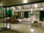 Evening setting in the large open living room of 100sqm