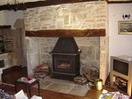 Wood burner in farmhouse living room.