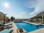 Heated pool and view from the covered terrace