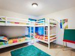 The famous bunk bed room with children's movies and toys