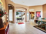 French door leading to the pool area from dining room