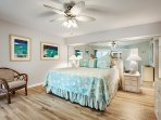 The master bedroom with Sterns and Foster mattresses, porcelain plank tile and new bathroom.