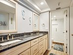 Brand new walk in shower and granite bathroom