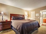 Master with walk in closet and flat screen TV