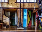 1er nivel, baño, salamandra, dormitorio, bar y mini biblioteca