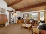 A gas fireplace and flat screen tv are great amenities in this affordable Snowmass studio plus loft condo.