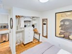 The bedrooms feature eclectic yet stylish decor.