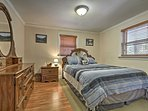 Rest your head on the queen-sized bed in the first bedroom.