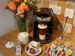 Enjoy a complementary drink from the welcome pack. Selection teas, coffee (Tassimo pods), milk, bisc