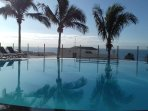 Heated infinity pool with spectacular sea views