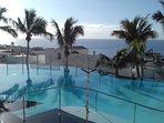 Heated infinity swimming pool