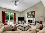 Large Great Room - Gas fireplace, 55 in. LED TV, Cable, Netflix, HBO & DVD Library. View to pool.