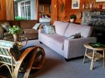 Perfect comfy sofa looks out over the water. Perfect for storm, deer, bird or whale watching