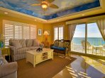 Comfortable living room with a view of the beach