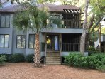 Exterior View of Back Deck and Stairs Down to Soccer Field and Night Heron Park