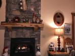 Close up of fireplace and Christmas decor items
